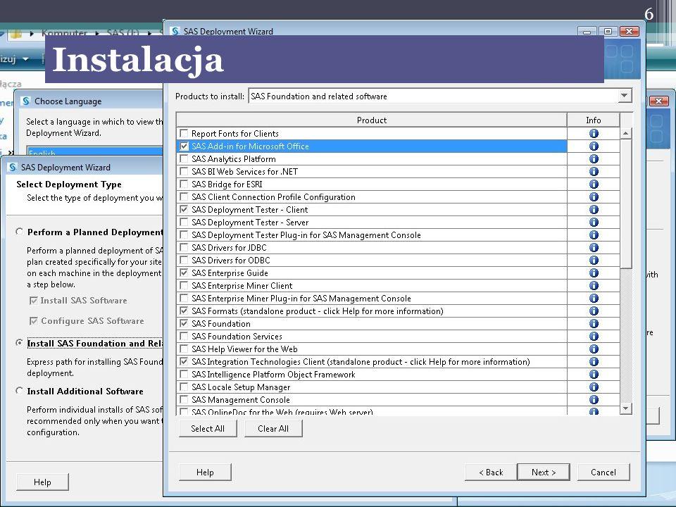 Techniki wykonywania obliczeń Display manager – pisanie programów Analyst ASSIST Enterprise miner Enterprise Guide MS EXCEL – dodatkowy pasek narzędzi 7