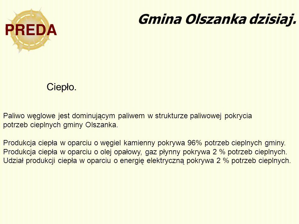 Paliwo węglowe jest dominującym paliwem w strukturze paliwowej pokrycia potrzeb cieplnych gminy Olszanka. Produkcja ciepła w oparciu o węgiel kamienny