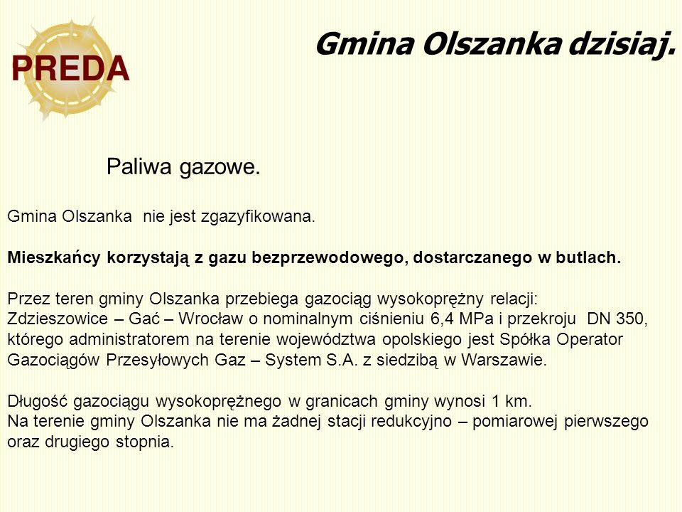 Gmina Olszanka dzisiaj. Gmina Olszanka nie jest zgazyfikowana. Mieszkańcy korzystają z gazu bezprzewodowego, dostarczanego w butlach. Przez teren gmin