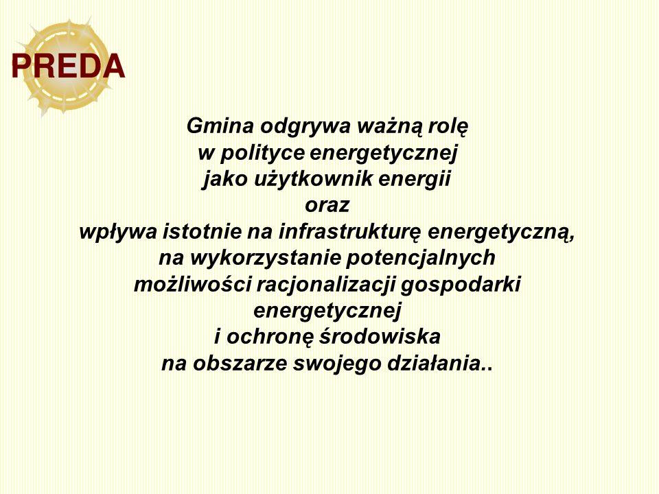 Gmina odgrywa ważną rolę w polityce energetycznej jako użytkownik energii oraz wpływa istotnie na infrastrukturę energetyczną, na wykorzystanie potenc