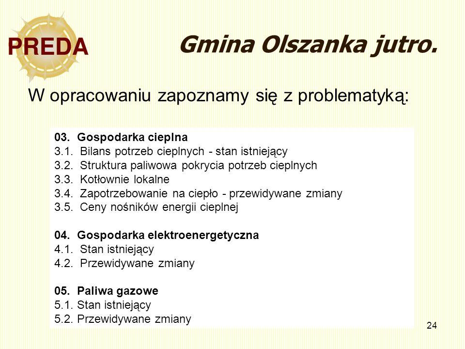 24 Gmina Olszanka jutro. W opracowaniu zapoznamy się z problematyką: 03. Gospodarka cieplna 3.1. Bilans potrzeb cieplnych - stan istniejący 3.2. Struk