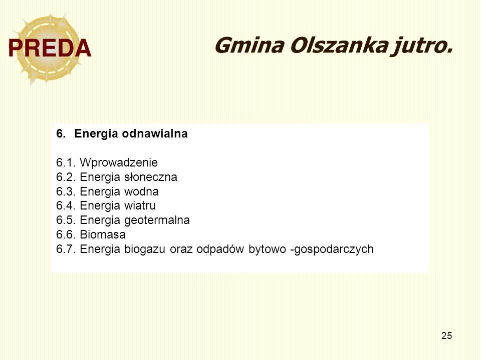 25 Gmina Olszanka jutro. 6.Energia odnawialna 6.1. Wprowadzenie 6.2. Energia słoneczna 6.3. Energia wodna 6.4. Energia wiatru 6.5. Energia geotermalna