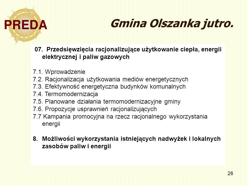 26 Gmina Olszanka jutro. 07. Przedsięwzięcia racjonalizujące użytkowanie ciepła, energii elektrycznej i paliw gazowych 7.1. Wprowadzenie 7.2. Racjonal