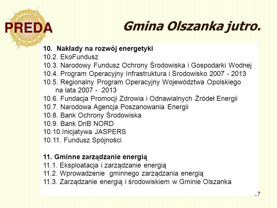 27 Gmina Olszanka jutro. 10. Nakłady na rozwój energetyki 10.2. EkoFundusz 10.3. Narodowy Fundusz Ochrony Środowiska i Gospodarki Wodnej 10.4. Program