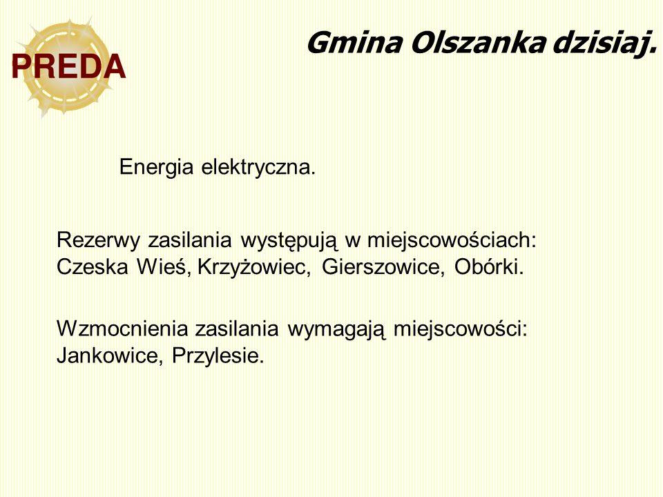 Rezerwy zasilania występują w miejscowościach: Czeska Wieś, Krzyżowiec, Gierszowice, Obórki. Gmina Olszanka dzisiaj. Energia elektryczna. Wzmocnienia