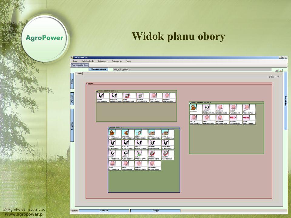MOŻLIWOŚCI PROGRAMU: przypominanie o zadaniach do wykonania – wydruk harmonogramu prowadzenie księgi bydła wydruk dokumentów hodowlanych wymaganych przez ARiMR rejestracja pomiarów mleka i wagi import danych z SYMLEK rejestracja danych zdrowotnych i płodnościowych generowanie zestawień i analiz, graficzna prezentacja wyników selekcje oraz grupowanie bydła © AgroPower Sp.