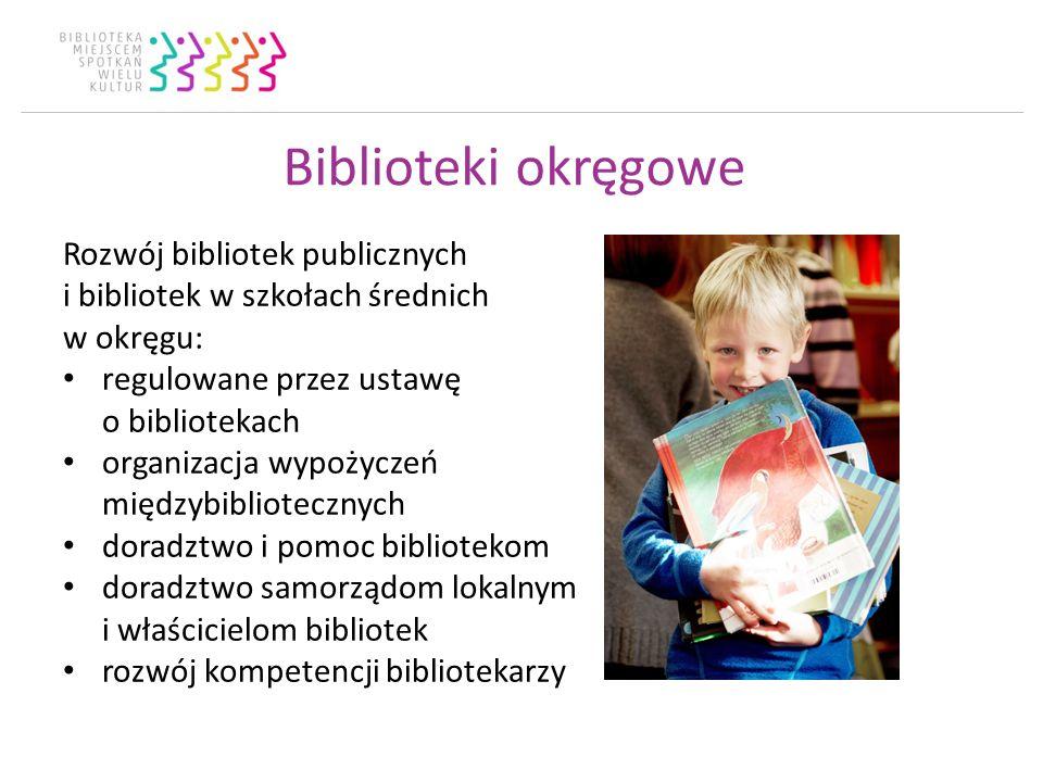 Biblioteki okręgowe Rozwój bibliotek publicznych i bibliotek w szkołach średnich w okręgu: regulowane przez ustawę o bibliotekach organizacja wypożyczeń międzybibliotecznych doradztwo i pomoc bibliotekom doradztwo samorządom lokalnym i właścicielom bibliotek rozwój kompetencji bibliotekarzy