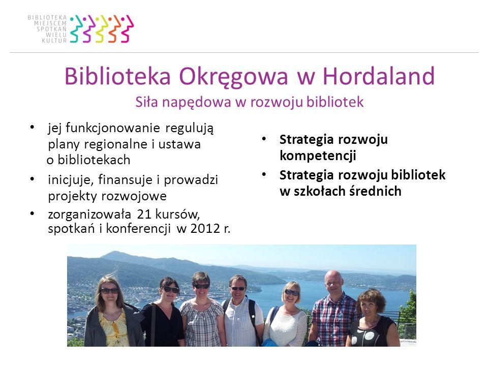 Biblioteka Okręgowa w Hordaland Siła napędowa w rozwoju bibliotek jej funkcjonowanie regulują plany regionalne i ustawa o bibliotekach inicjuje, finansuje i prowadzi projekty rozwojowe zorganizowała 21 kursów, spotkań i konferencji w 2012 r.