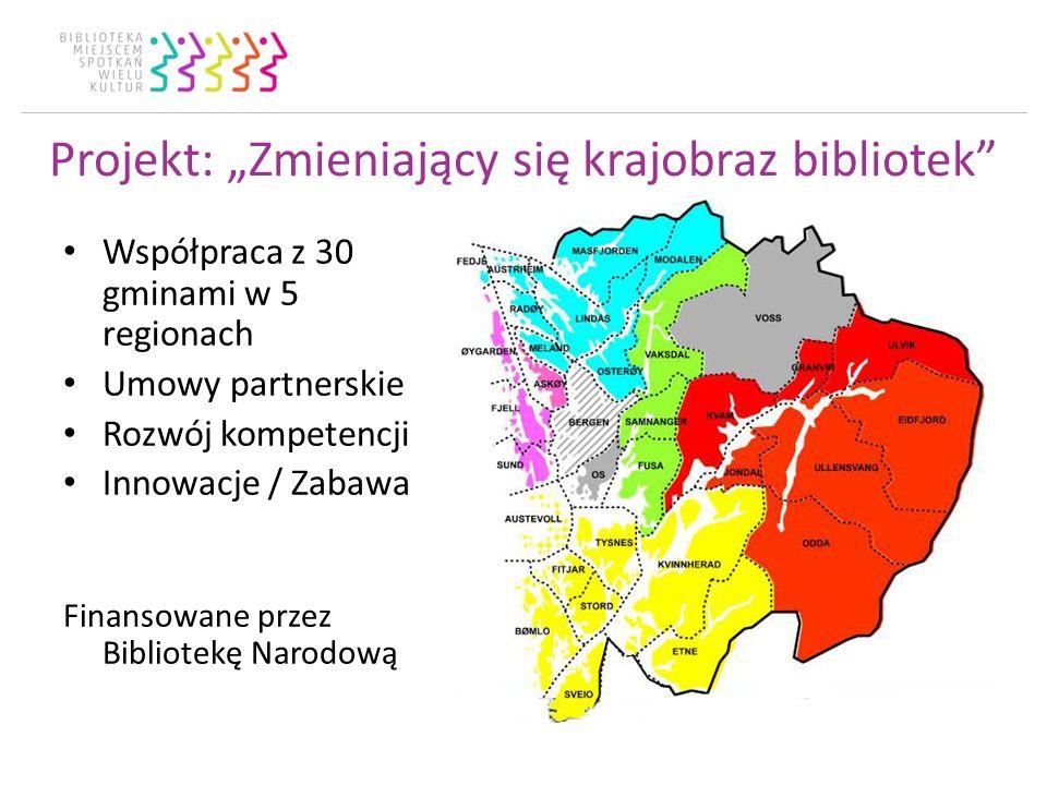 Projekt: Zmieniający się krajobraz bibliotek Współpraca z 30 gminami w 5 regionach Umowy partnerskie Rozwój kompetencji Innowacje / Zabawa Finansowane przez Bibliotekę Narodową