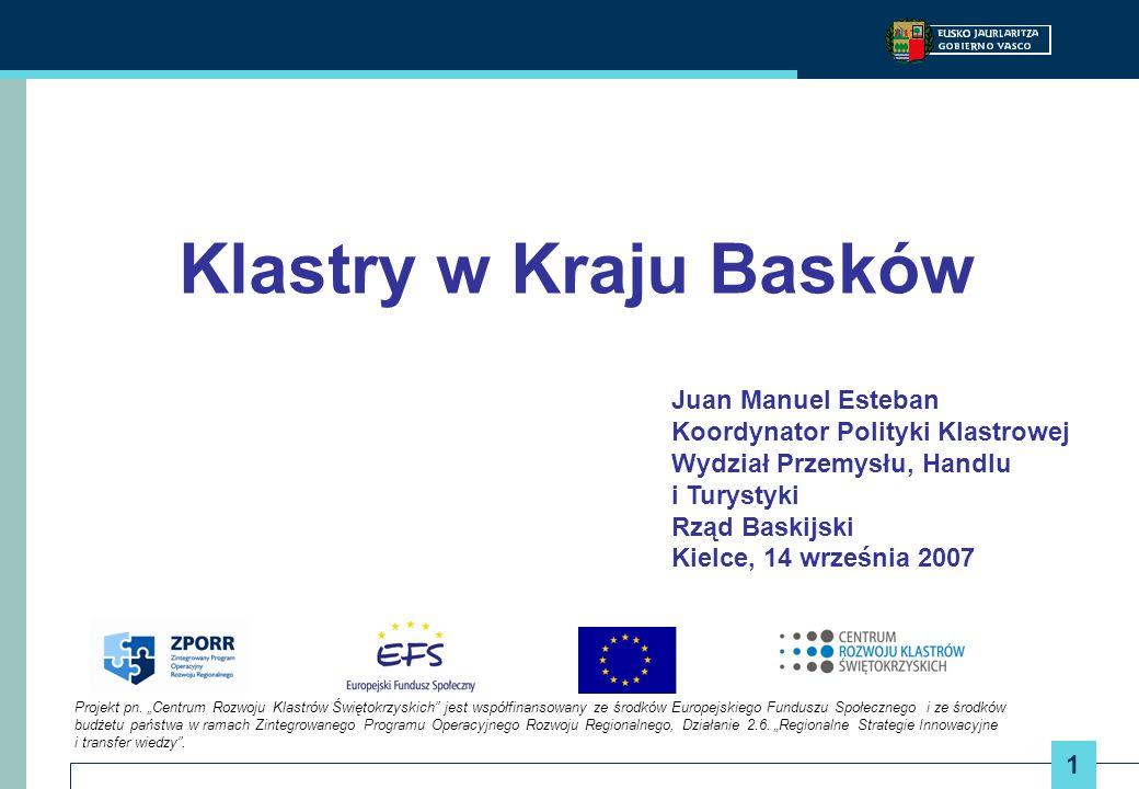 12 Klastry w Kraju Basków Cele operacyjne: Piramida Kooperacji Począwszy od niższego do wyższego poziomu osiągnięć z punktu widzenia poziomu kooperacji: Zebranie i rozprowadzenie strategicznych informacji Identyfikacja strategicznych wyzwań i potencjalnych współdziałań Zidentyfikowanie i ewaluacja potencjalnych synergii Identyfikacja oraz wspieranie kooperujących grup zainteresowanych generowaniem projektów współpracy
