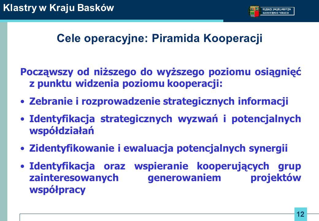 12 Klastry w Kraju Basków Cele operacyjne: Piramida Kooperacji Począwszy od niższego do wyższego poziomu osiągnięć z punktu widzenia poziomu kooperacj