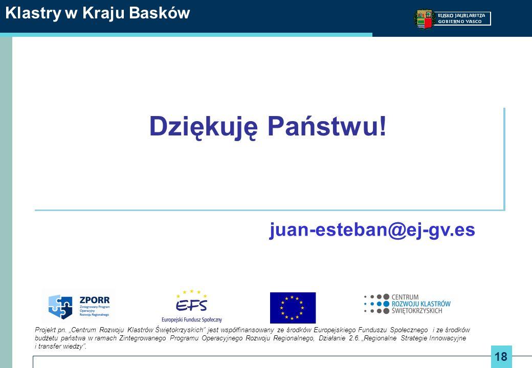 18 Klastry w Kraju Basków Dziękuję Państwu! juan-esteban@ej-gv.es Projekt pn. Centrum Rozwoju Klastrów Świętokrzyskich jest współfinansowany ze środkó