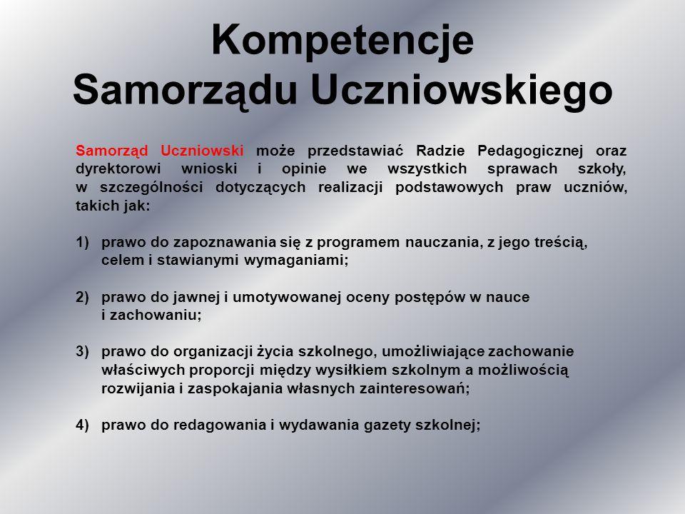Kompetencje Samorządu Uczniowskiego Samorząd Uczniowski może przedstawiać Radzie Pedagogicznej oraz dyrektorowi wnioski i opinie we wszystkich sprawac