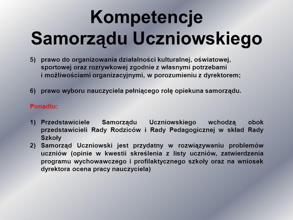 Kompetencje Samorządu Uczniowskiego 5)prawo do organizowania działalności kulturalnej, oświatowej, sportowej oraz rozrywkowej zgodnie z własnymi potrzebami i możliwościami organizacyjnymi, w porozumieniu z dyrektorem; 6)prawo wyboru nauczyciela pełniącego rolę opiekuna samorządu.