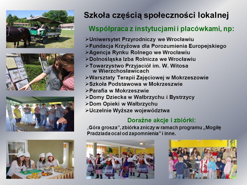 Szkoła częścią społeczności lokalnej Współpraca z instytucjami i placówkami, np: Uniwersytet Przyrodniczy we Wrocławiu Fundacja Krzyżowa dla Porozumie