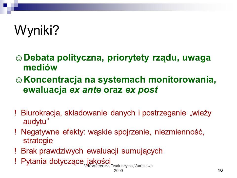 V Konferencja Ewaluacyjna, Warszawa 2009 10 Wyniki? Debata polityczna, priorytety rządu, uwaga mediów Koncentracja na systemach monitorowania, ewaluac