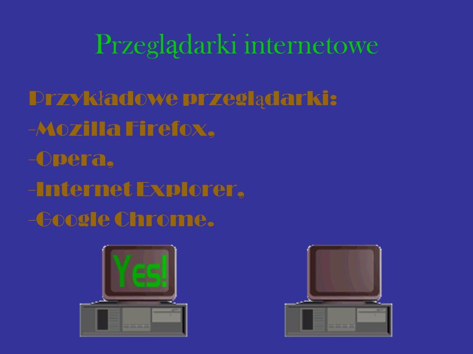 Przegl ą darki internetowe Przyk ł adowe przegl ą darki: -Mozilla Firefox, -Opera, -Internet Explorer, -Google Chrome.
