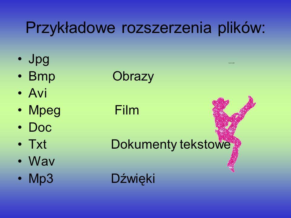 Przykładowe rozszerzenia plików: Jpg dupa bejbisia Bmp Obrazy Avi Mpeg Film Doc Txt Dokumenty tekstowe Wav Mp3 Dźwięki