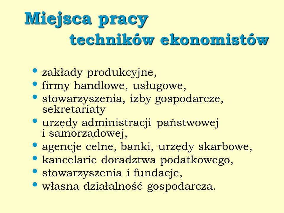 Miejsca pracy techników ekonomistów Miejsca pracy techników ekonomistów zakłady produkcyjne, firmy handlowe, usługowe, stowarzyszenia, izby gospodarcz