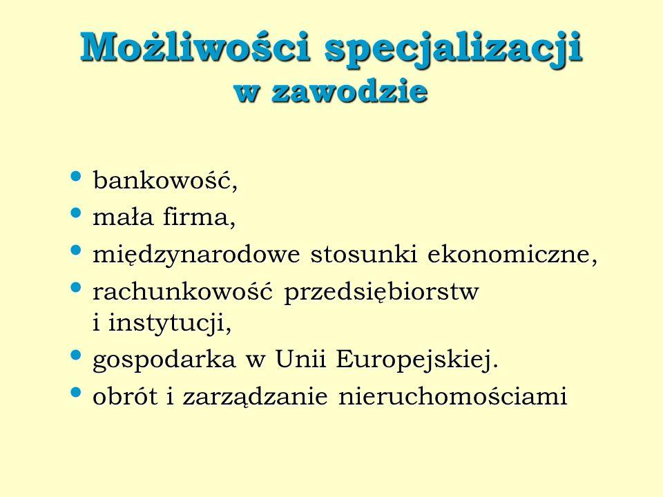 Możliwości specjalizacji w zawodzie bankowość, bankowość, mała firma, mała firma, międzynarodowe stosunki ekonomiczne, międzynarodowe stosunki ekonomi