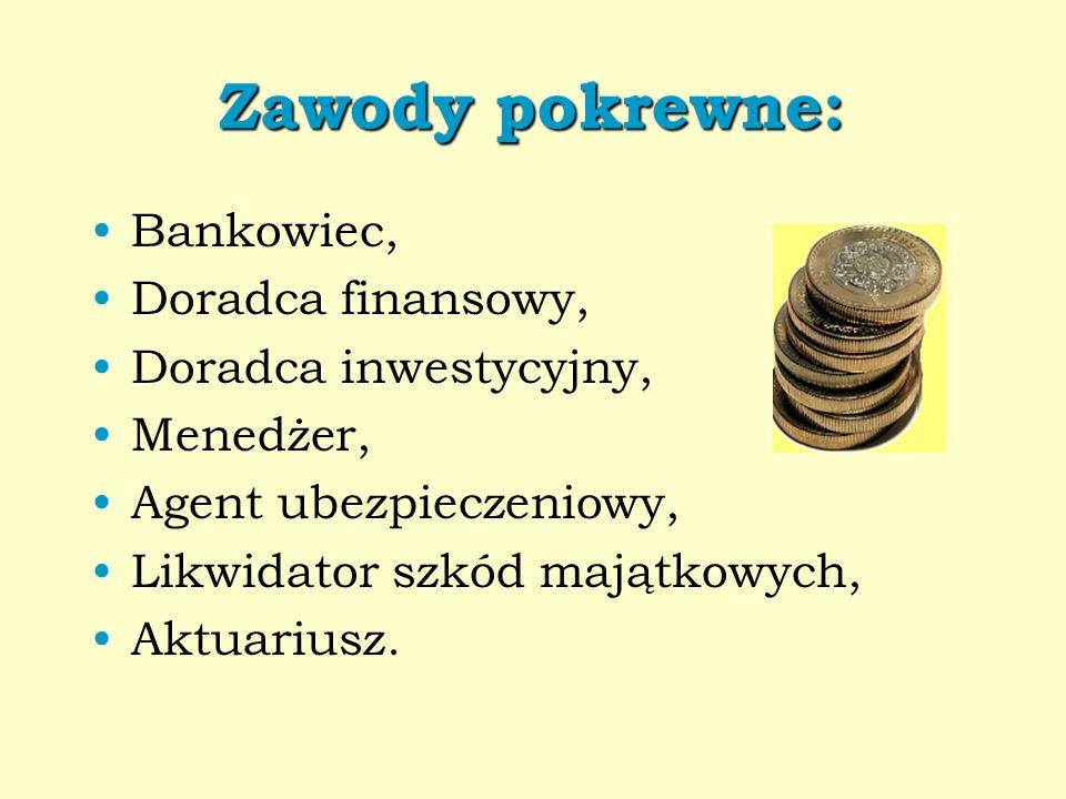 Zawody pokrewne: Bankowiec, Doradca finansowy, Doradca inwestycyjny, Menedżer, Agent ubezpieczeniowy, Likwidator szkód majątkowych, Aktuariusz.