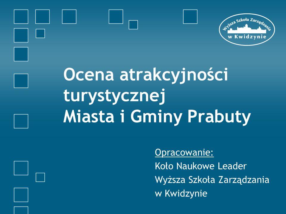 Cele projektu Koło Naukowe Leader, działające przy Wyższej Szkole Zarządzania w Kwidzynie na zlecenie Urzędu Miasta i Gminy Prabuty opracowało badanie ankietowe na temat atrakcyjności turystycznej Miasta i Gminy Prabuty.