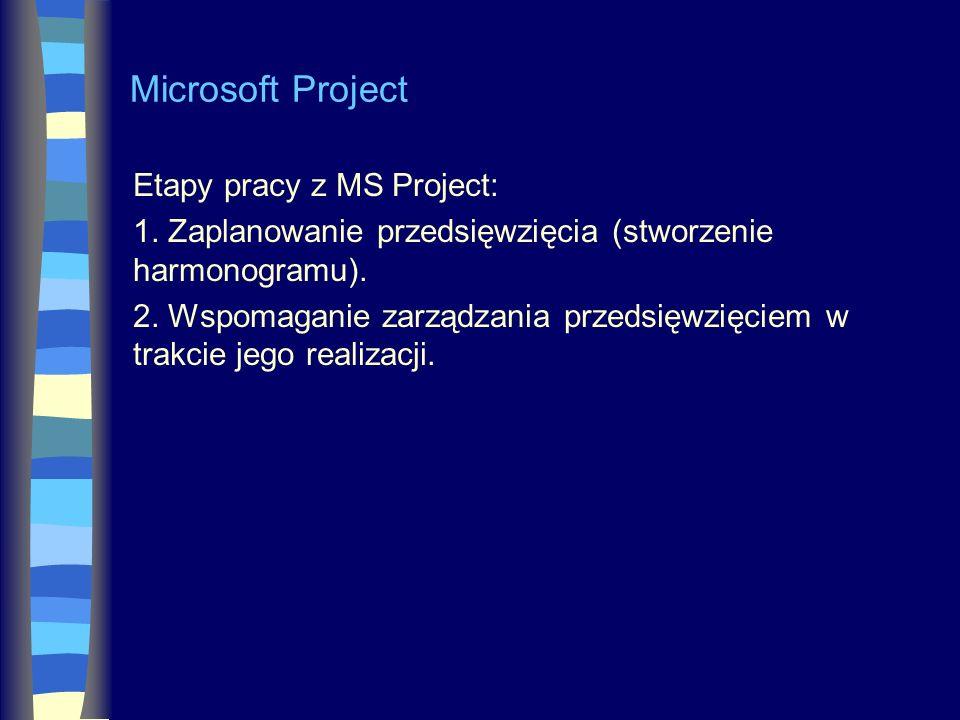 Microsoft Project Etapy pracy z MS Project: 1. Zaplanowanie przedsięwzięcia (stworzenie harmonogramu). 2. Wspomaganie zarządzania przedsięwzięciem w t