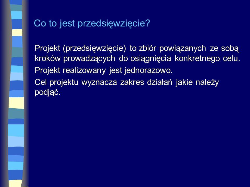 Co to jest przedsięwzięcie? Projekt (przedsięwzięcie) to zbiór powiązanych ze sobą kroków prowadzących do osiągnięcia konkretnego celu. Projekt realiz