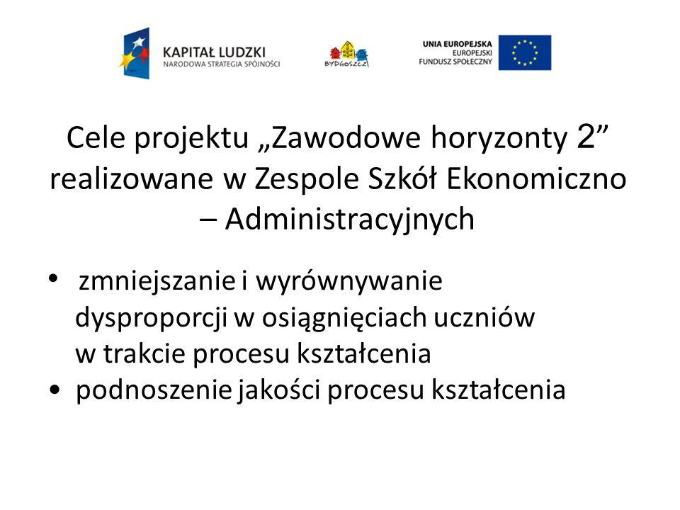 Cele projektu Zawodowe horyzonty 2 realizowane w Zespole Szkół Ekonomiczno – Administracyjnych zmniejszanie i wyrównywanie dysproporcji w osiągnięciach uczniów w trakcie procesu kształcenia podnoszenie jakości procesu kształcenia