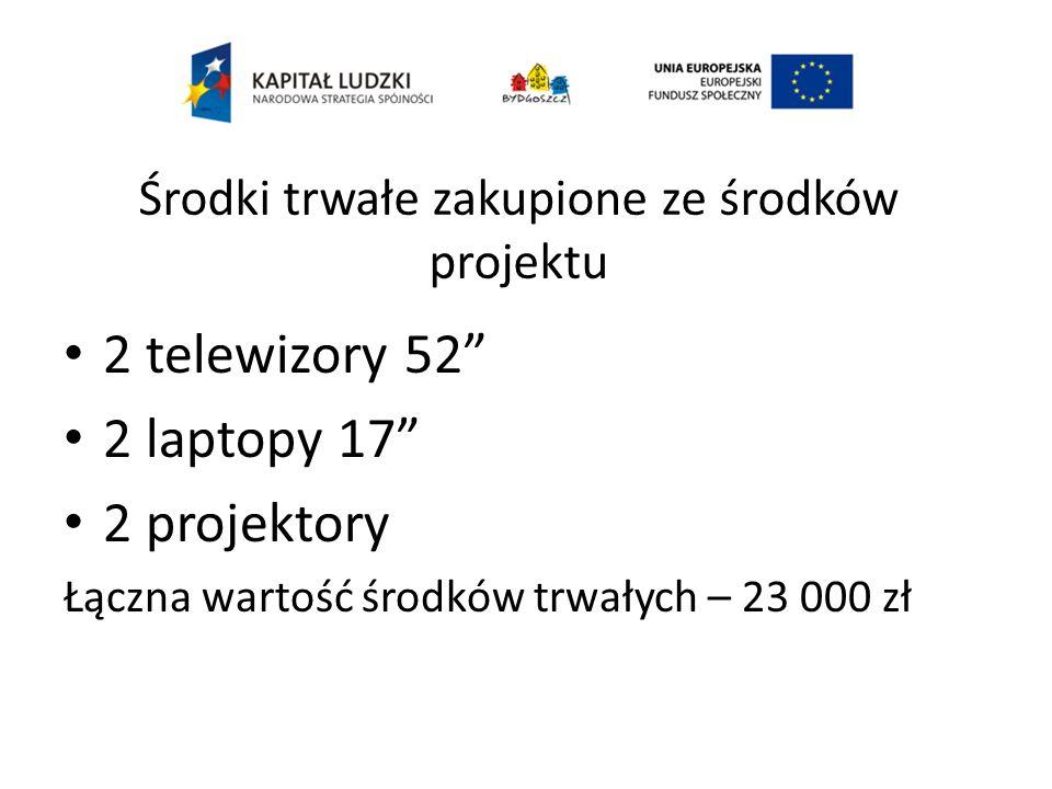 Środki trwałe zakupione ze środków projektu 2 telewizory 52 2 laptopy 17 2 projektory Łączna wartość środków trwałych – 23 000 zł