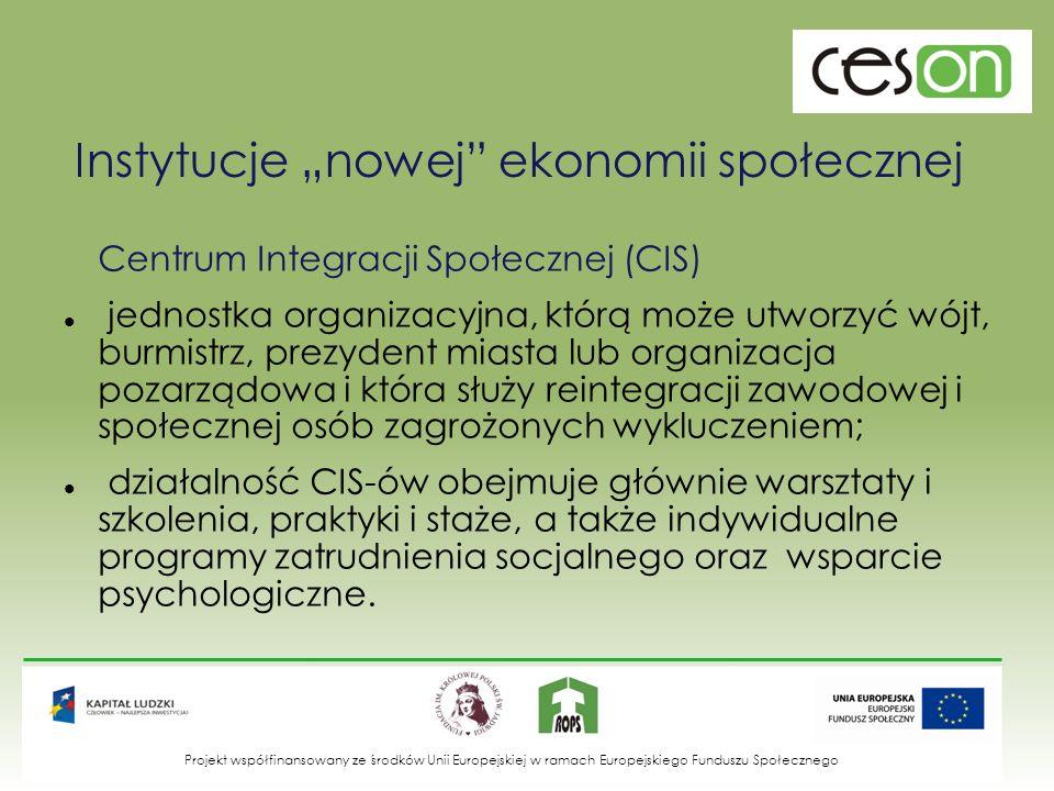 Instytucje nowej ekonomii społecznej Centrum Integracji Społecznej (CIS) jednostka organizacyjna, którą może utworzyć wójt, burmistrz, prezydent miast
