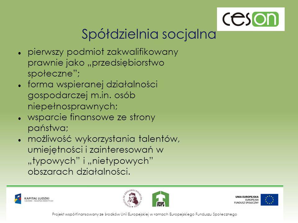 Spółdzielnia socjalna pierwszy podmiot zakwalifikowany prawnie jako przedsiębiorstwo społeczne; forma wspieranej działalności gospodarczej m.in. osób