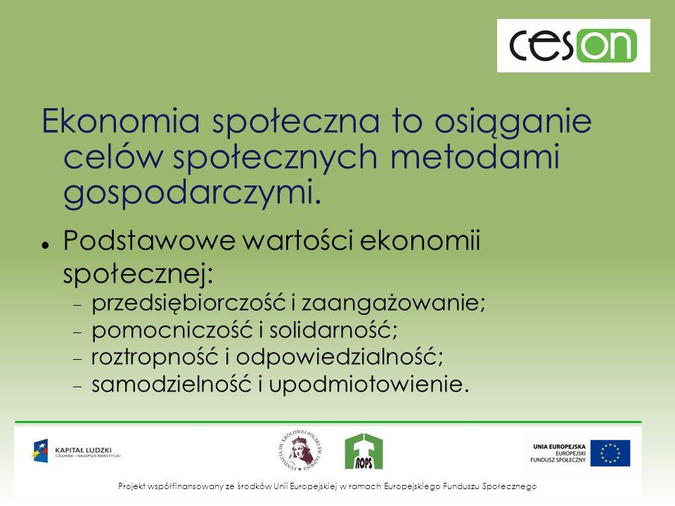Cechy wyróżniające podmioty ES cel społeczny – działanie nie dla zysku, a dla społecznej użyteczności; praca przed kapitałem – wypracowana nadwyżka ekonomiczna nie jest dystrybuowana, ale służy realizacji celu społecznego; autonomiczne zarządzanie - żaden z interesariuszy nie może narzucić zmiany statutowego celu organizacji; demokratyczne decydowanie - każdy uczestnik może praktycznie wywierać wpływ na funkcjonowanie organizacji; lokalne zakorzenienie – działanie w ramach lokalnej wspólnoty i dla niej.
