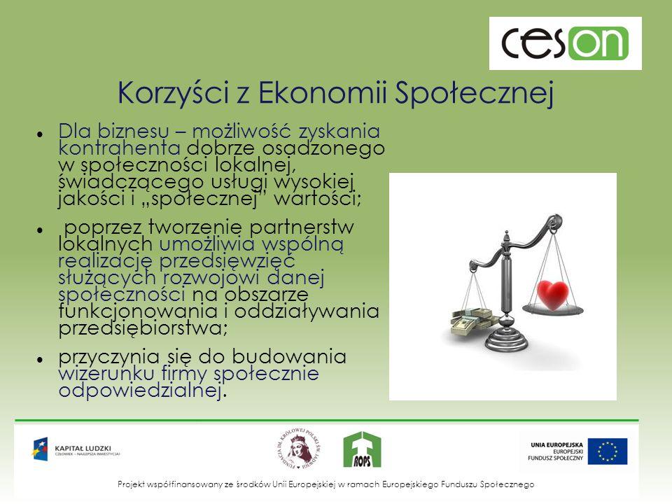 Źródła: Hausner J., Ekonomia społeczna jako kategoria rozwoju, Kraków, 2007; Poprawa potencjału integracji społecznej na poziomie lokalnym poprzez ekonomię społeczną.