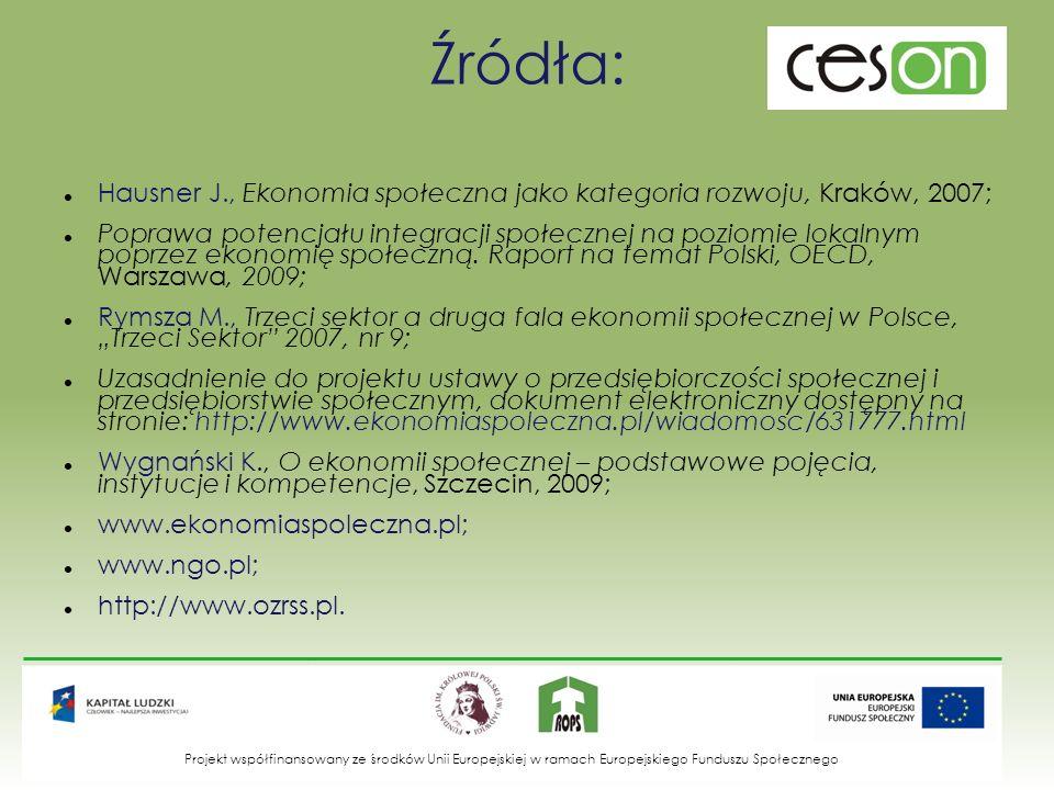 Źródła: Hausner J., Ekonomia społeczna jako kategoria rozwoju, Kraków, 2007; Poprawa potencjału integracji społecznej na poziomie lokalnym poprzez eko