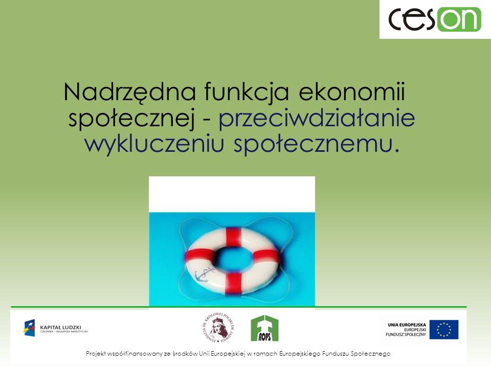 Nadrzędna funkcja ekonomii społecznej - przeciwdziałanie wykluczeniu społecznemu. Projekt współfinansowany ze środków Unii Europejskiej w ramach Europ