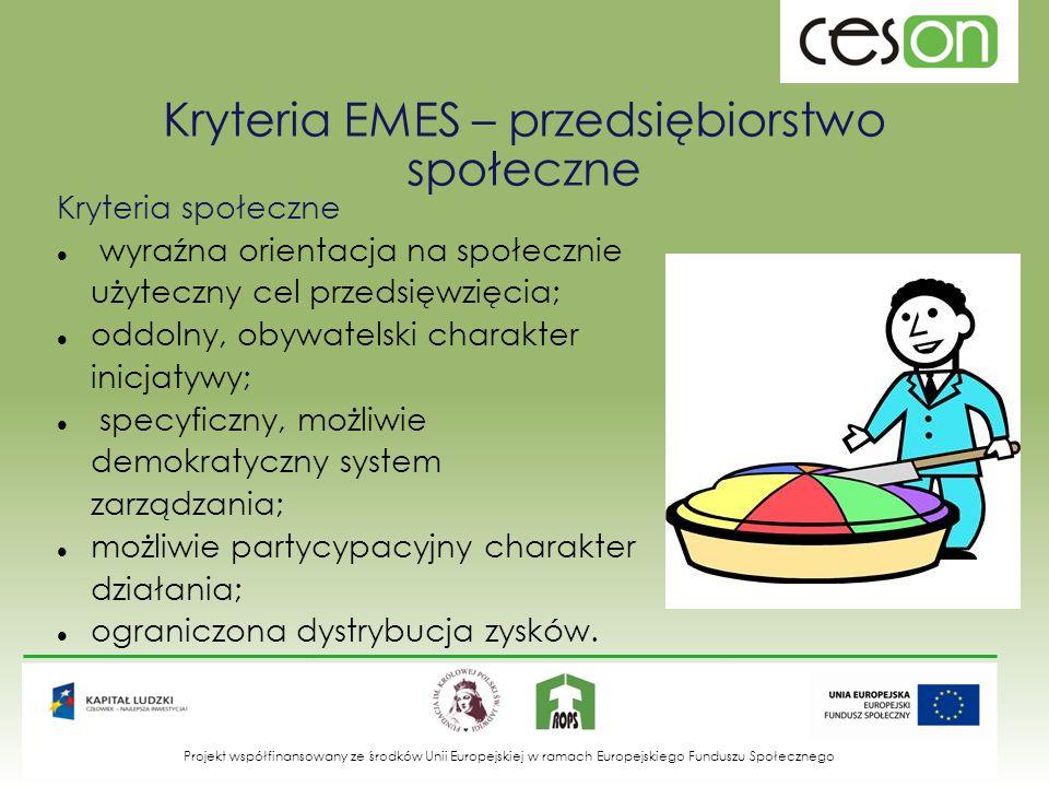 Kryteria EMES – przedsiębiorstwo społeczne Kryteria społeczne wyraźna orientacja na społecznie użyteczny cel przedsięwzięcia; oddolny, obywatelski cha