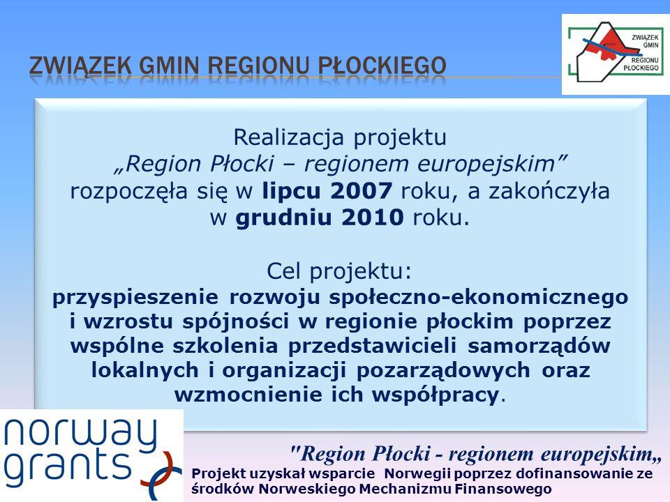 Realizacja projektu Region Płocki – regionem europejskim rozpoczęła się w lipcu 2007 roku, a zakończyła w grudniu 2010 roku.