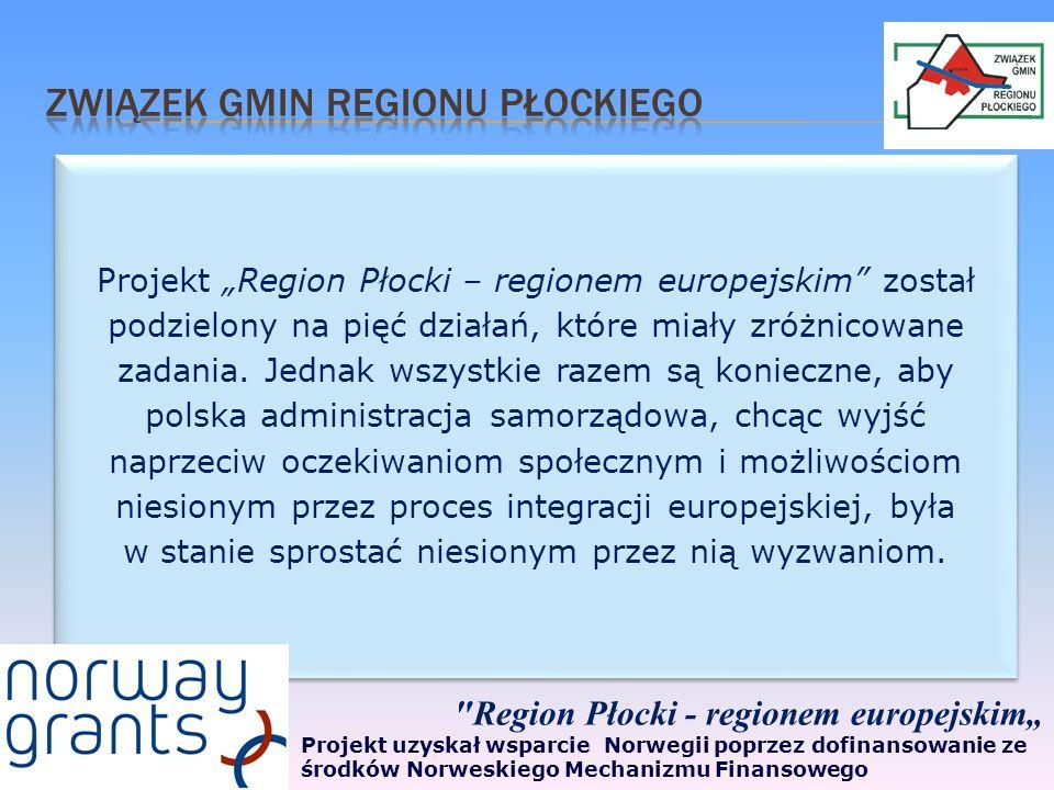 Projekt Region Płocki – regionem europejskim został podzielony na pięć działań, które miały zróżnicowane zadania.