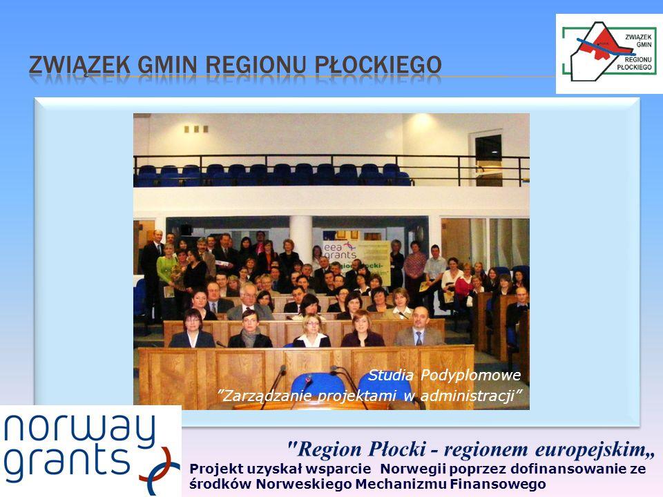 Region Płocki - regionem europejskim Projekt uzyskał wsparcie Norwegii poprzez dofinansowanie ze środków Norweskiego Mechanizmu Finansowego Studia Podyplomowe Zarządzanie projektami w administracji