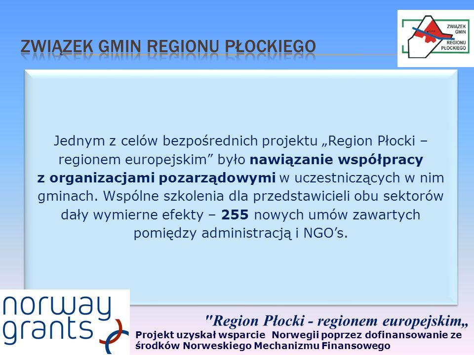 Jednym z celów bezpośrednich projektu Region Płocki – regionem europejskim było nawiązanie współpracy z organizacjami pozarządowymi w uczestniczących w nim gminach.