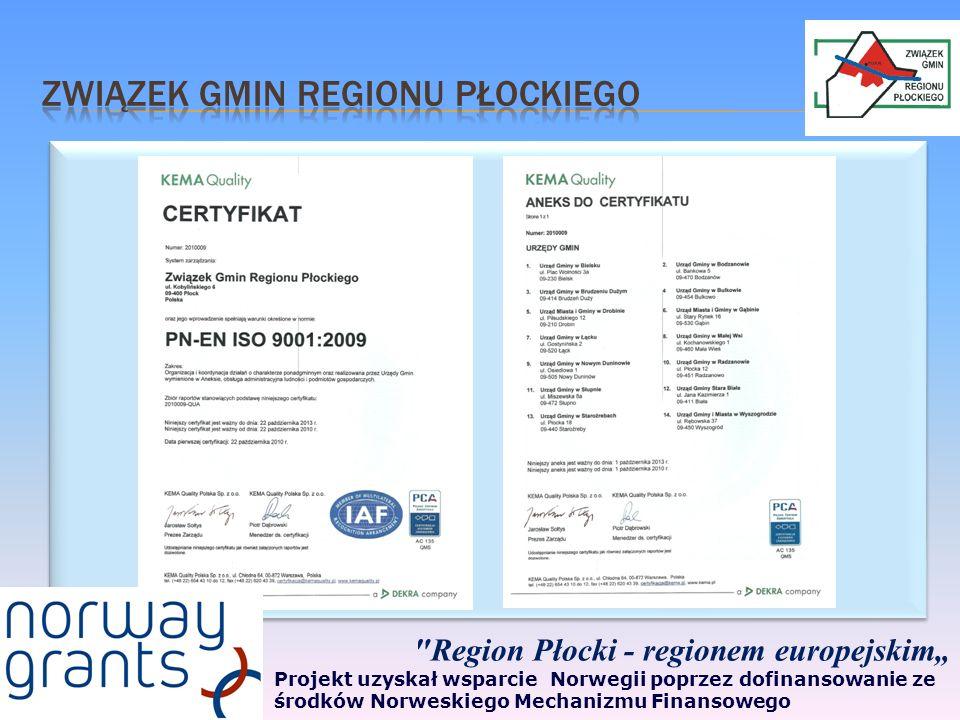 Region Płocki - regionem europejskim Projekt uzyskał wsparcie Norwegii poprzez dofinansowanie ze środków Norweskiego Mechanizmu Finansowego