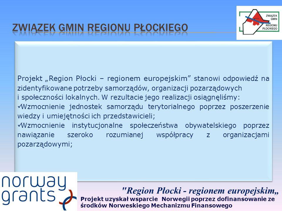 Projekt Region Płocki – regionem europejskim stanowi odpowiedź na zidentyfikowane potrzeby samorządów, organizacji pozarządowych i społeczności lokalnych.