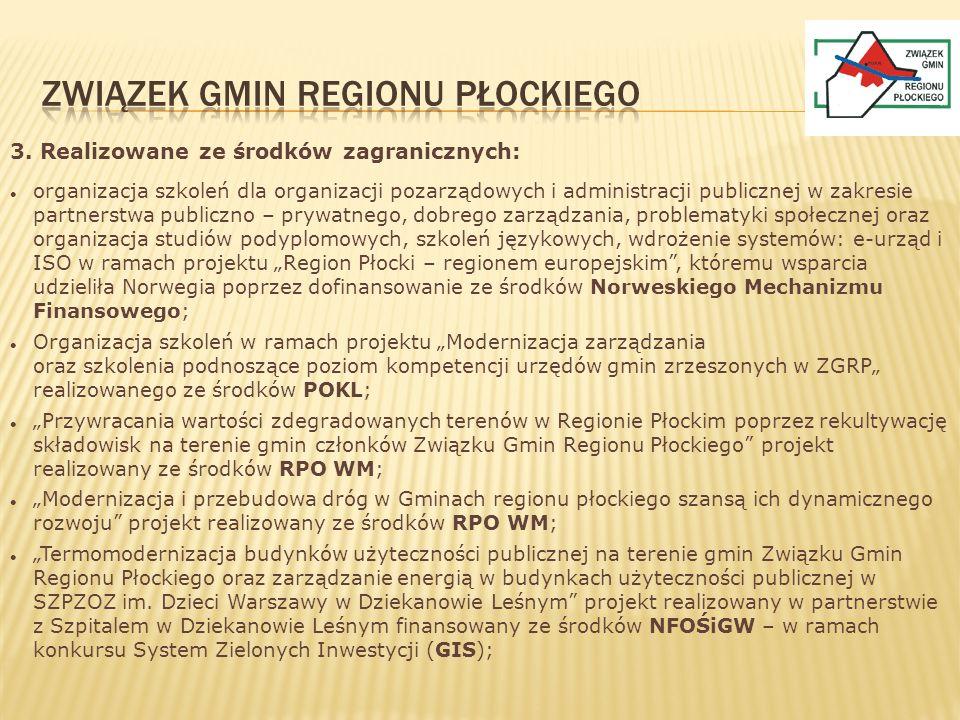 3. Realizowane ze środków zagranicznych: organizacja szkoleń dla organizacji pozarządowych i administracji publicznej w zakresie partnerstwa publiczno