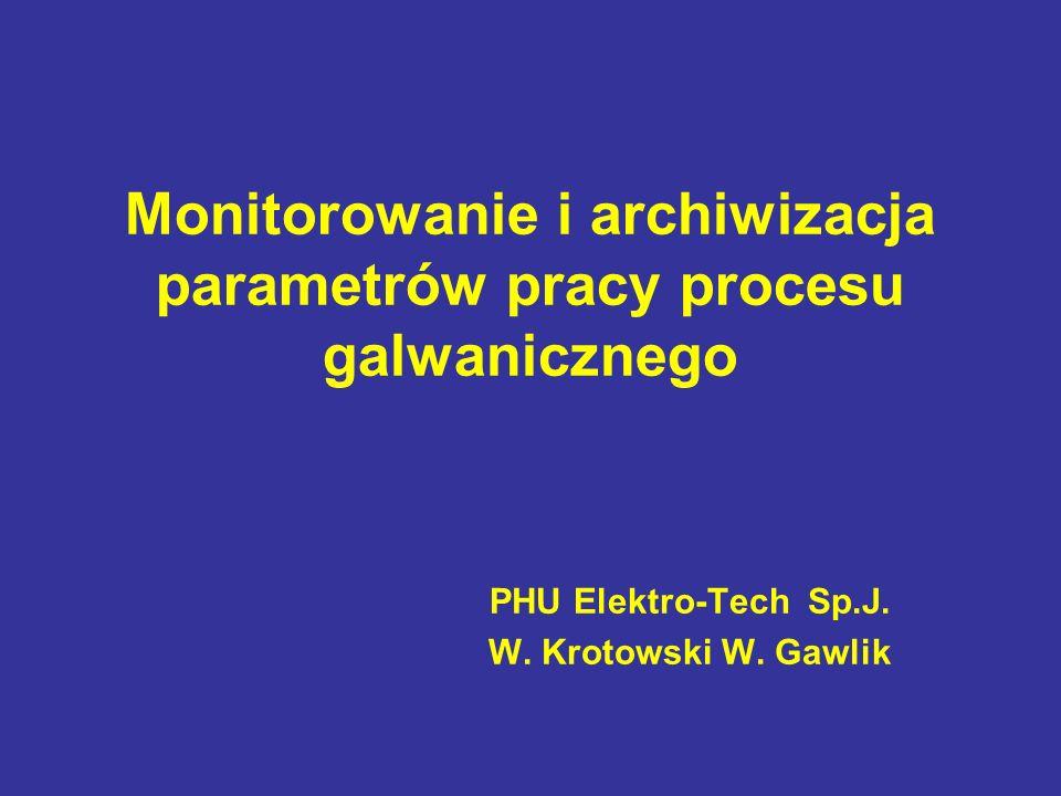 Monitorowanie i archiwizacja parametrów pracy procesu galwanicznego PHU Elektro-Tech Sp.J. W. Krotowski W. Gawlik