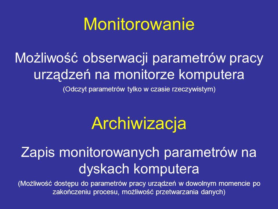 Monitorowanie Możliwość obserwacji parametrów pracy urządzeń na monitorze komputera (Odczyt parametrów tylko w czasie rzeczywistym) Archiwizacja Zapis