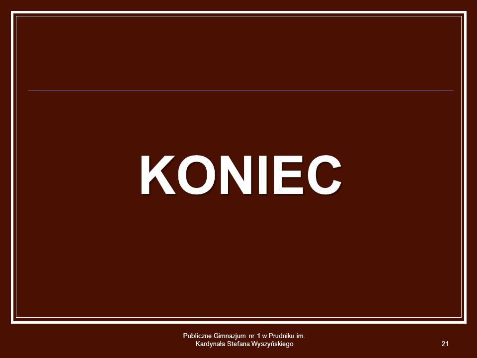 KONIEC Publiczne Gimnazjum nr 1 w Prudniku im. Kardynała Stefana Wyszyńskiego21