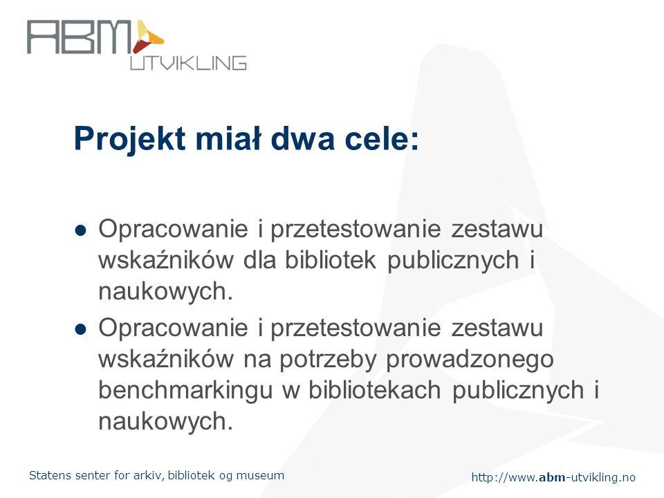 http://www.abm-utvikling.no Statens senter for arkiv, bibliotek og museum Projekt miał dwa cele: Opracowanie i przetestowanie zestawu wskaźników dla bibliotek publicznych i naukowych.