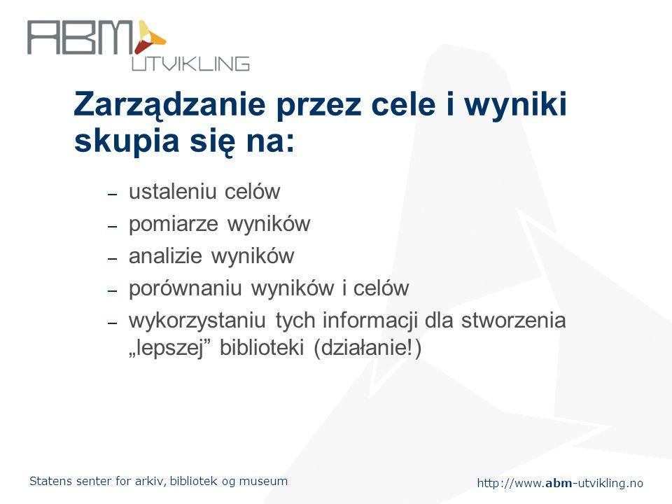 http://www.abm-utvikling.no Statens senter for arkiv, bibliotek og museum Zarządzanie przez cele i wyniki skupia się na: – ustaleniu celów – pomiarze wyników – analizie wyników – porównaniu wyników i celów – wykorzystaniu tych informacji dla stworzenia lepszej biblioteki (działanie!)