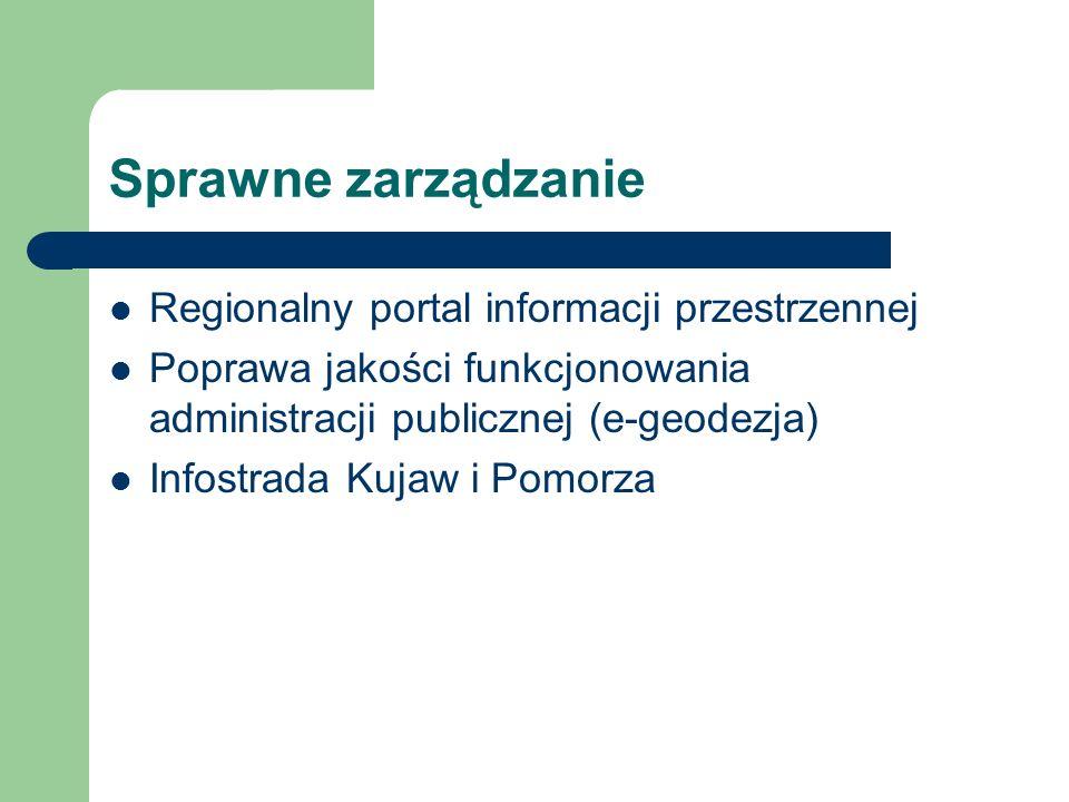 Sprawne zarządzanie Regionalny portal informacji przestrzennej Poprawa jakości funkcjonowania administracji publicznej (e-geodezja) Infostrada Kujaw i Pomorza